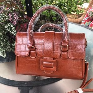Alligator Satchel Bag NEW  Ajustable Strap TAN